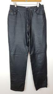Bagatelle 12L Black Leather Straight Cut Pants